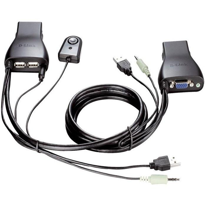 تصویر سوییچ 2 پورت USB KVM دی-لینک مدل KVM-222 با جک 3.5 میلیمتری صدا