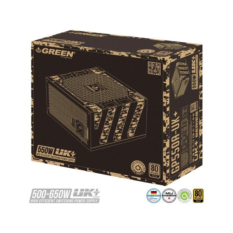 تصویر منبع تغذیه کامپیوتر گرین مدل GP550A-UK PLUS