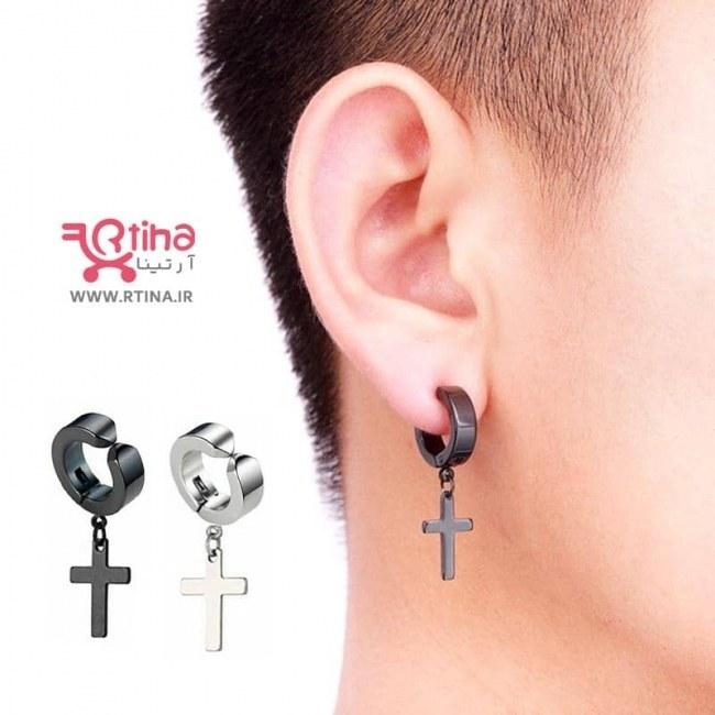 تصویر گوشواره صلیب مردانه زنانه/ پیرسینگ بدون سوراخ آویز