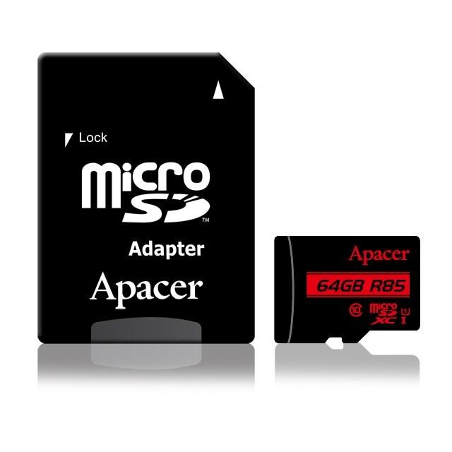 تصویر کارت حافظه microSDHC اپیسر مدل AP64G کلاس ۱۰ استاندارد UHS-I U1 سرعت ۸۵MBps ظرفیت ۶۴ گیگابایت Apacer AP64G UHS-I U1 Class 10 85MBps microSDHC - 64GB