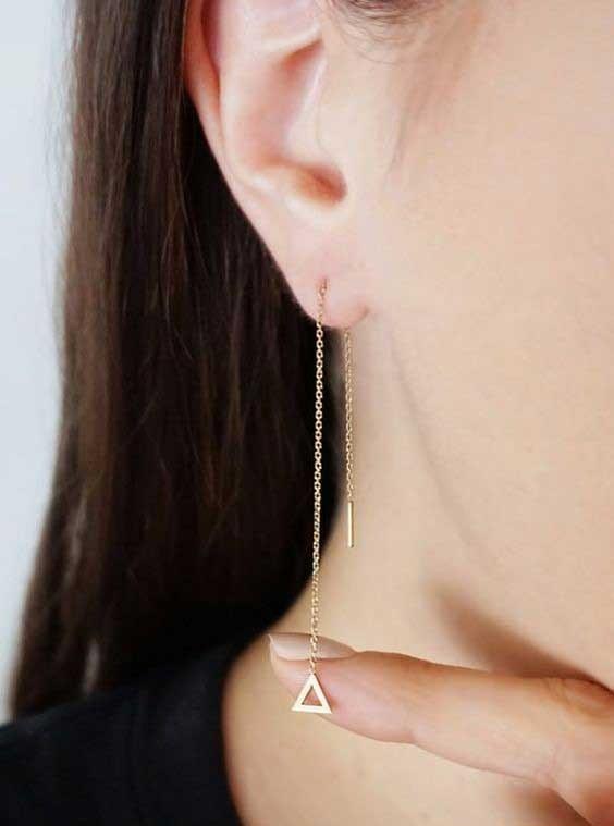 عکس گوشواره بخیه طلا مدل مثلث  گوشواره-بخیه-طلا-مدل-مثلث
