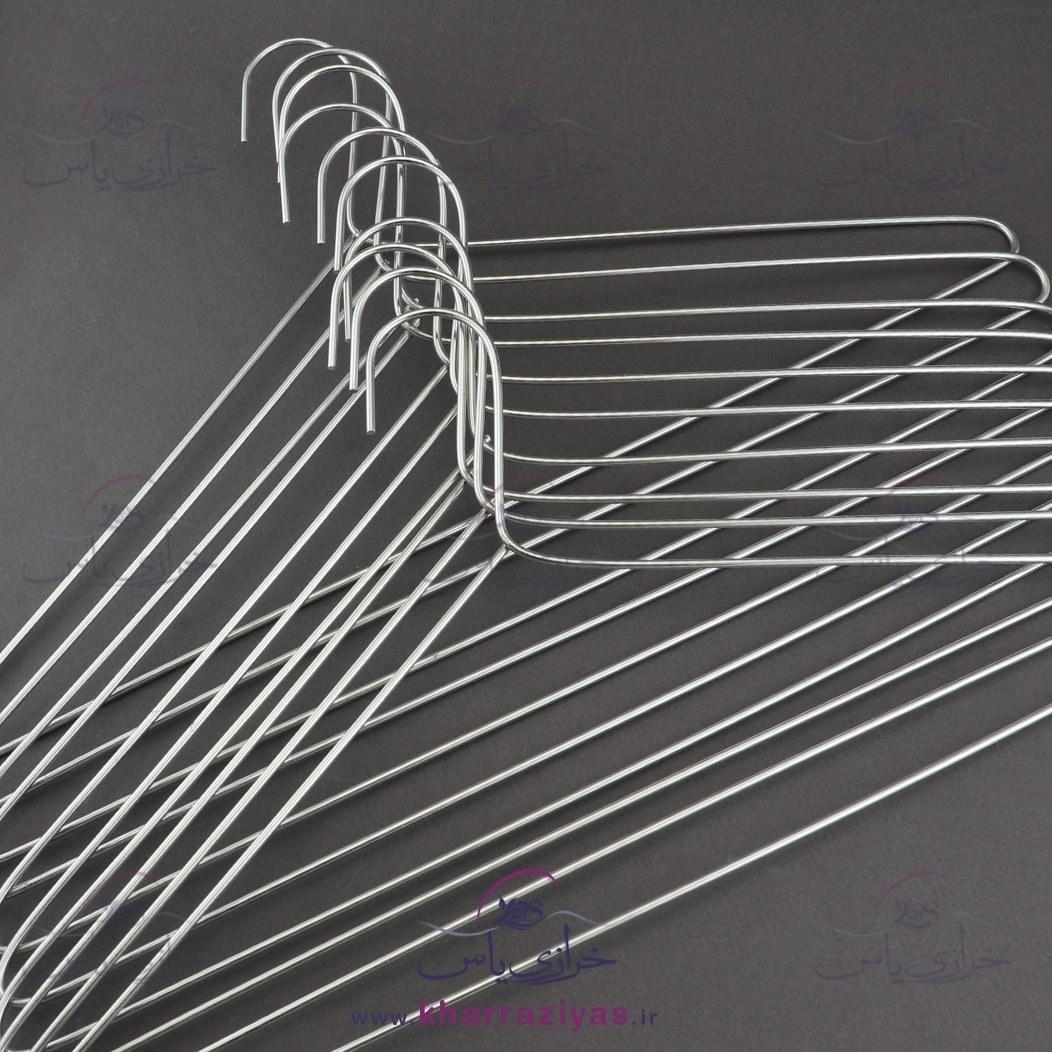 تصویر چوب لباسی فلزی نقره ای ( بسته 10 عددی)