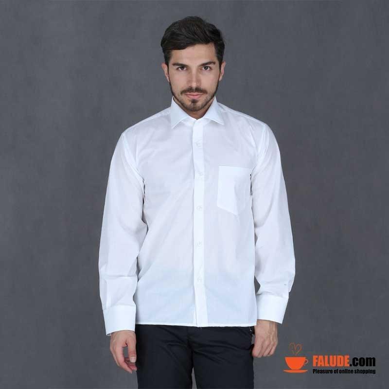 تصویر پیراهن تترون مردانه آستین بلند سفید هجرت