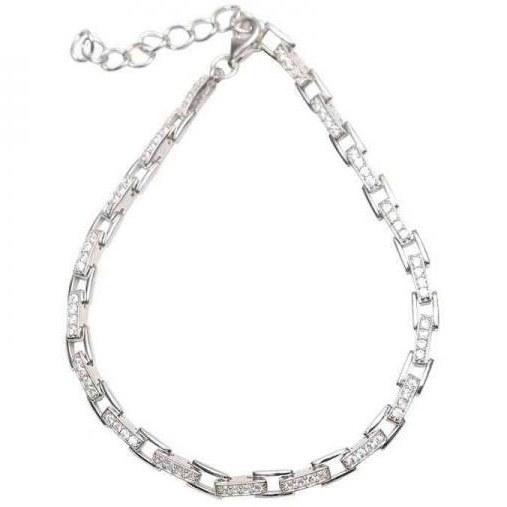 دستبند زنجیری نقره - کد SBC015