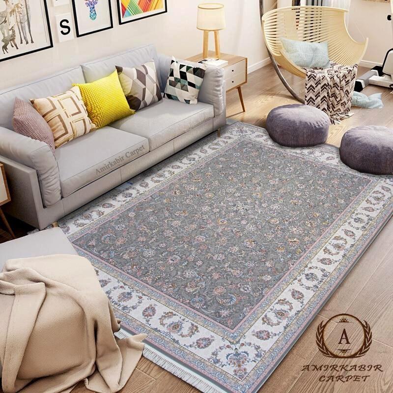 تصویر فرش السا نقره ای ۱۲۰۰ شانه گل برجسته