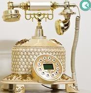 تصویر تلفن رومیزی سلطنتی آرنوس رنگ کرم طلایی مدل 036F