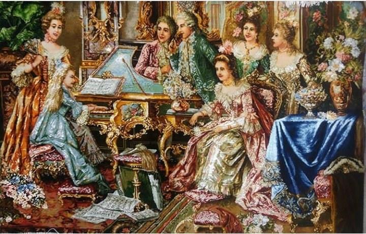 تصویر تابلو فرش برجسته دستبافت ابریشمی طرح پیانوزن کد ۱۰۹۰۲