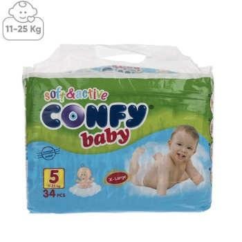 تصویر پوشک کانفی سایز 5 بسته 34 عددی Confy Size 5 Diaper Pack of 34pcs