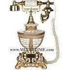 تصویر تلفن رومیزی سلطنتی آرنوس رنگ طلایی سفید کرش مدل 105