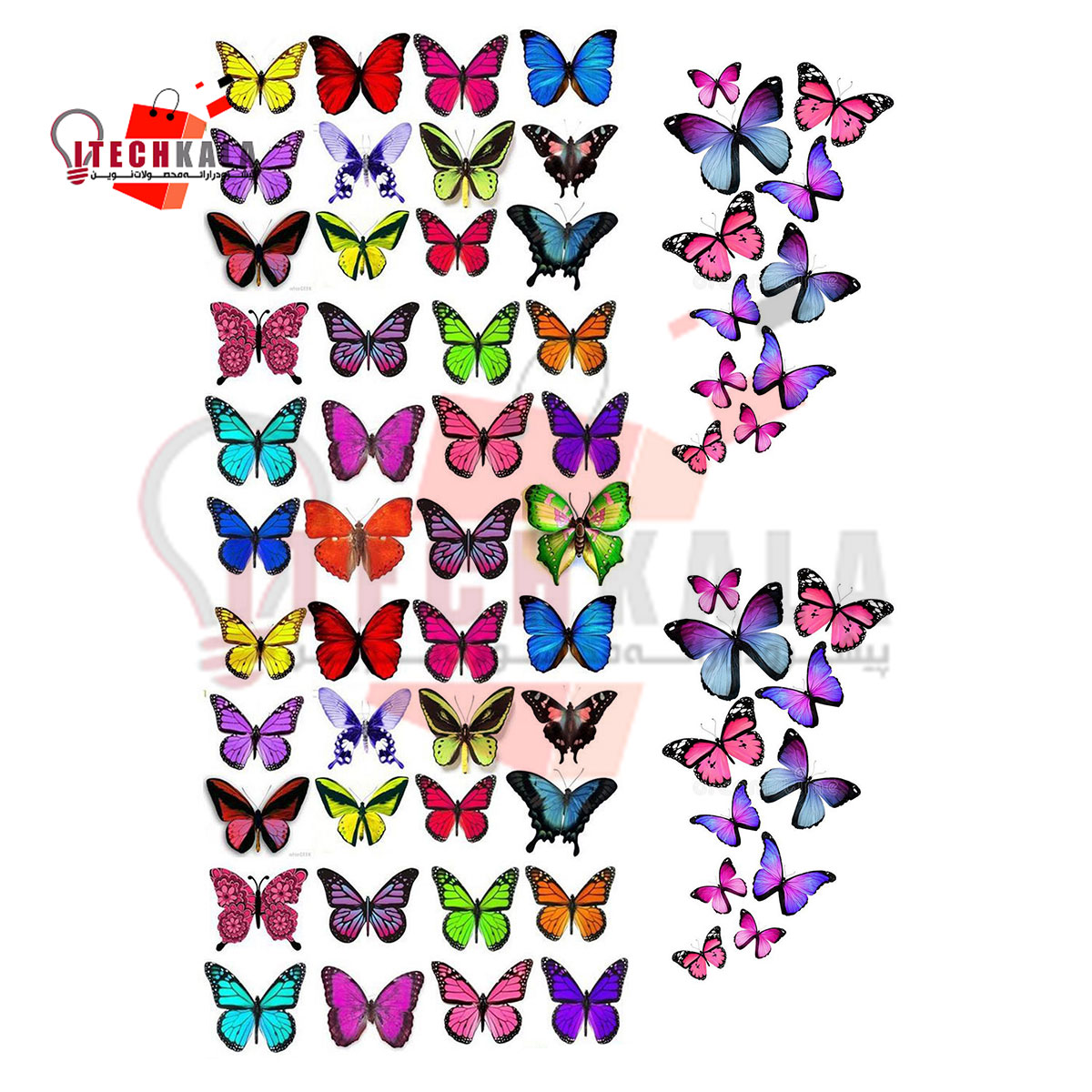 تصویر طلق ترنسپرنت رنگی (مدل پروانه سه بعدی)