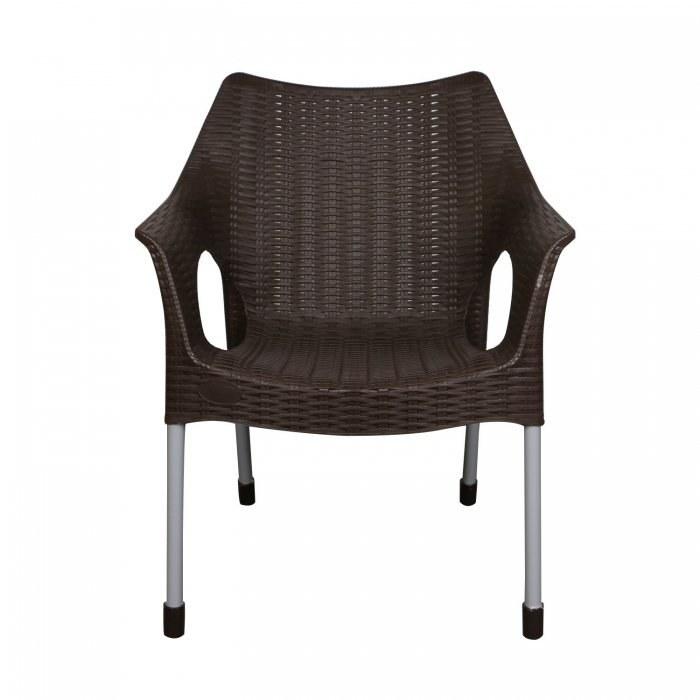 صندلی دسته دار حصیری پایه فلزی ناصر پلاستیک کد 991