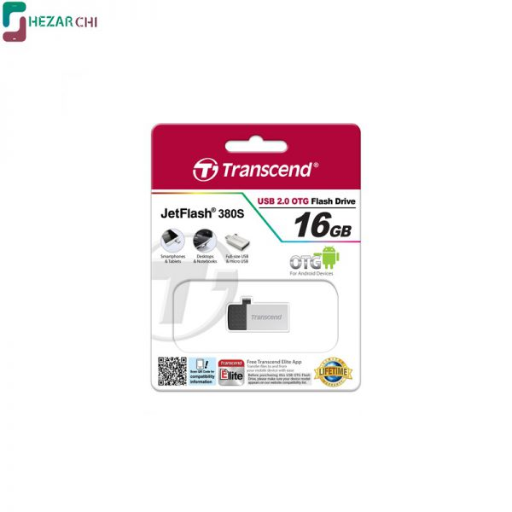 تصویر Transcend JetFlash 380S USB 2.0 OTG Flash Memory 16GB فلش مموری ترنسند JetFlash 380S با ظرفیت 16 گیگابایت