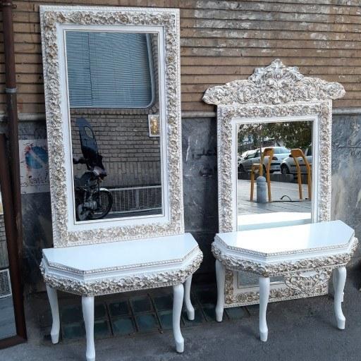 میز و آیینه چوبی تمام گل سفید طلایی(120در70) |