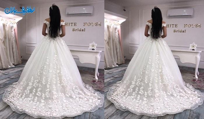 خرید لباس عروس یقه قایقی دنباله دار مدل گلپرک با ارزان ترین قیمت در مزون خانه سفید (White House) با ۵۰% تخفیف و |