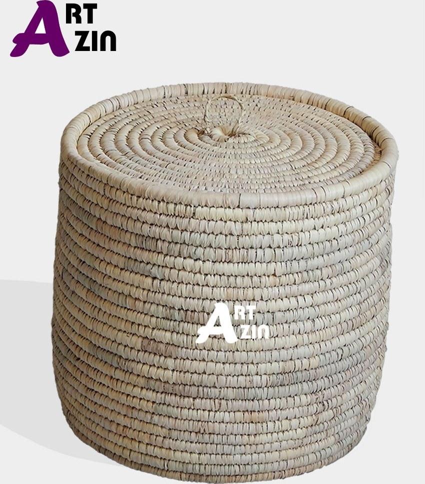 تصویر سبد لباس رخت چرک یا سطل برنج خیلی بزرگ حصیری - کد: 274