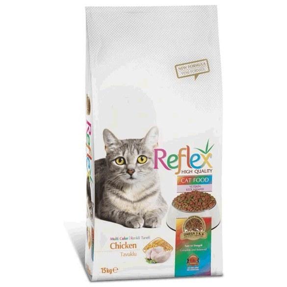 تصویر غذای گربه بالغ رفلکس مولتی کالر مرغ (۱۵ کیلوگرم) Reflex Cat Food 15kg