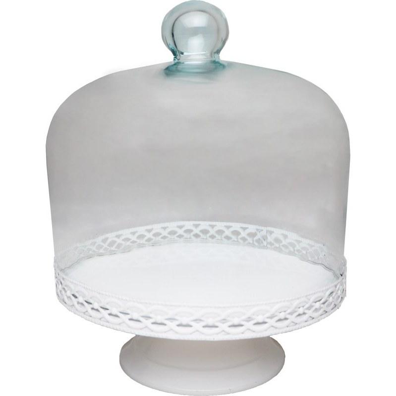 تصویر ظرف کیک خوری پایه دار سفید با درب شیشه ای
