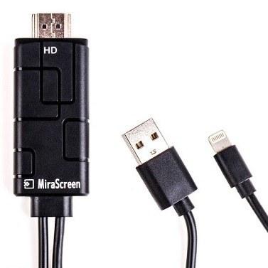 تصویر کابل MHL انتقال تصویر آیفون به HDMI برند MiraScreen مدل LD10