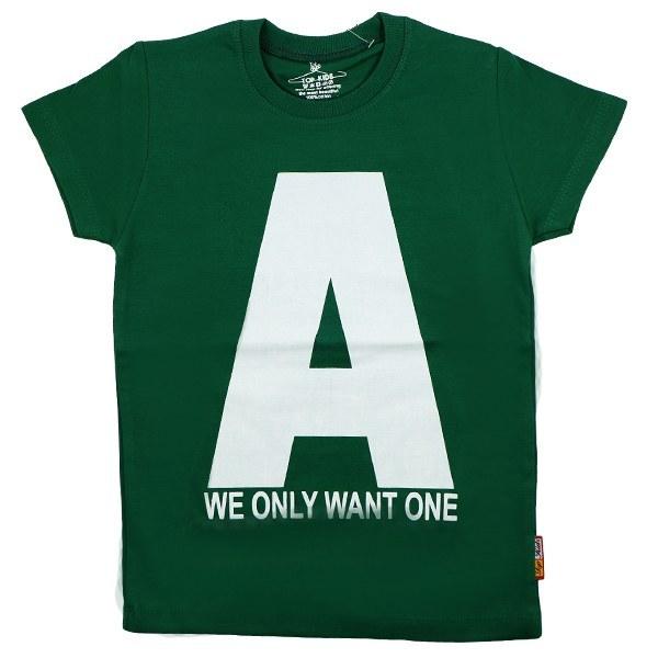 تی شرت پسرانه آستین کوتاه تاپ کیدز طرح A رنگ سبز
