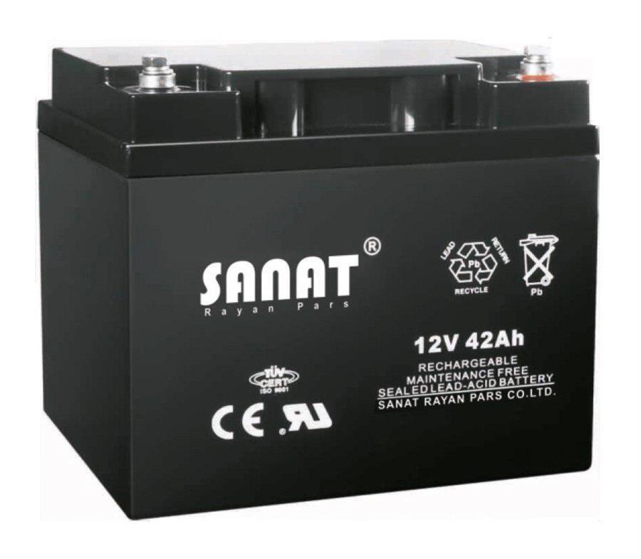 باتری یو پی اس صنعت رایان پارس ۱۲ ولت ۴۲ آمپر ساعت