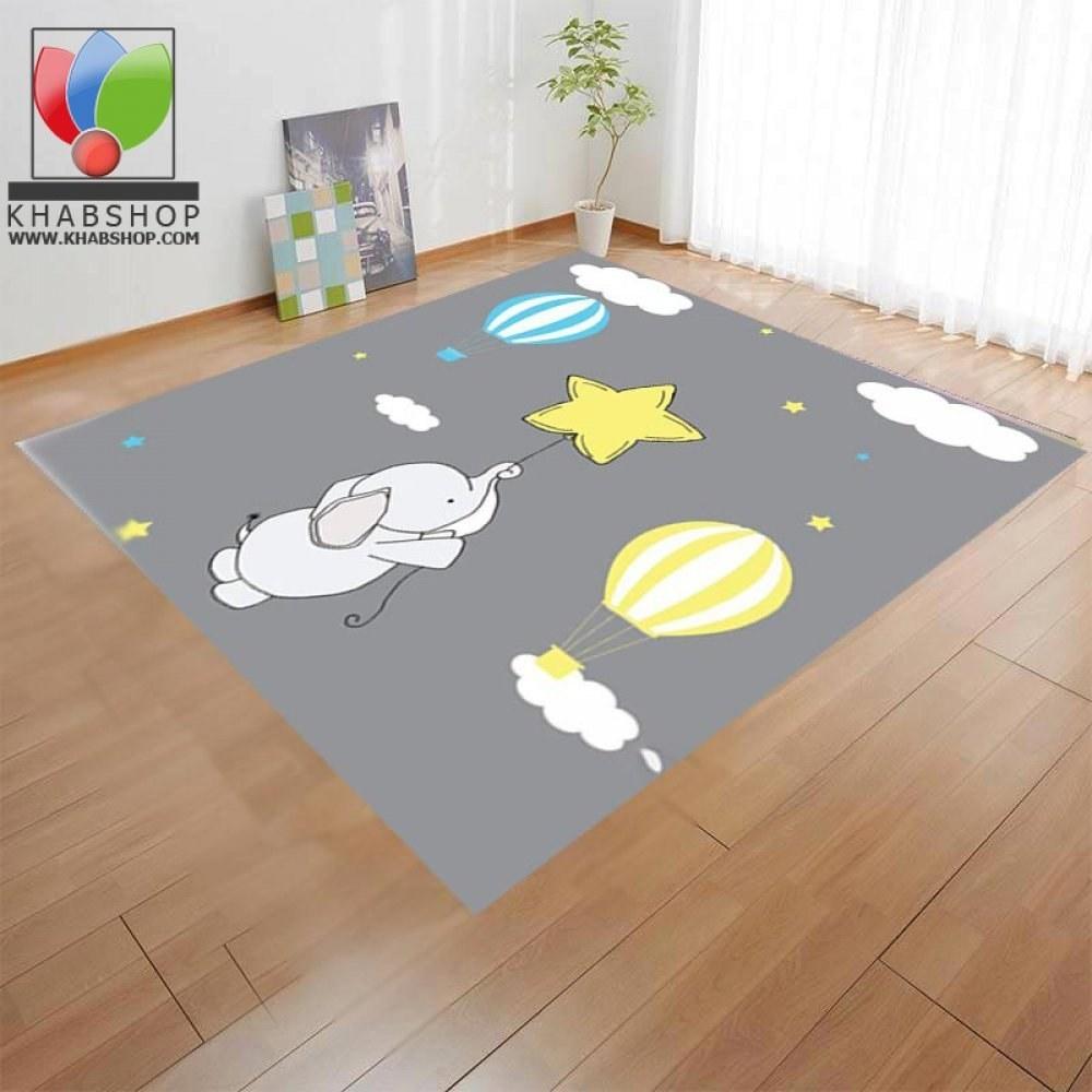 تصویر فرش کودک مدل فیل و ستاره