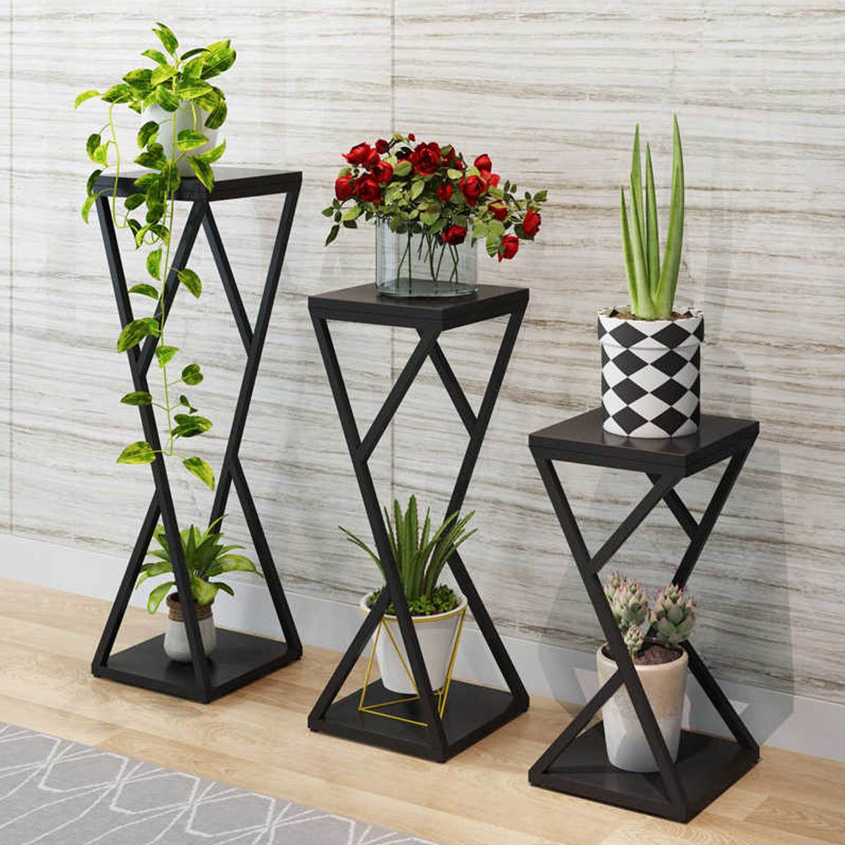 تصویر استند گلدان مدل مدرن مجموعه سه عددی