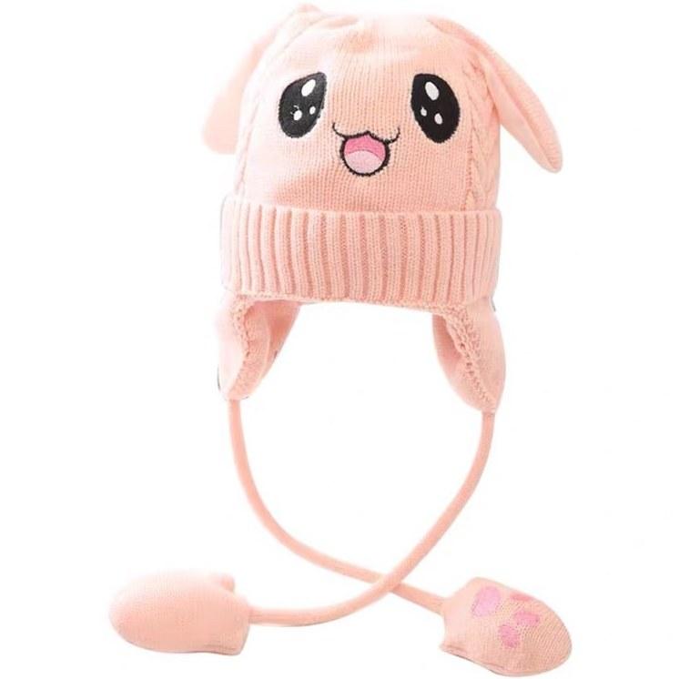 تصویر کلاه بافتنی یونیکورن گوش متحرک کره ای