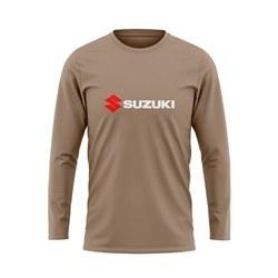 تصویر پیراهن آستین بلند مردانه خاکی سوزکی