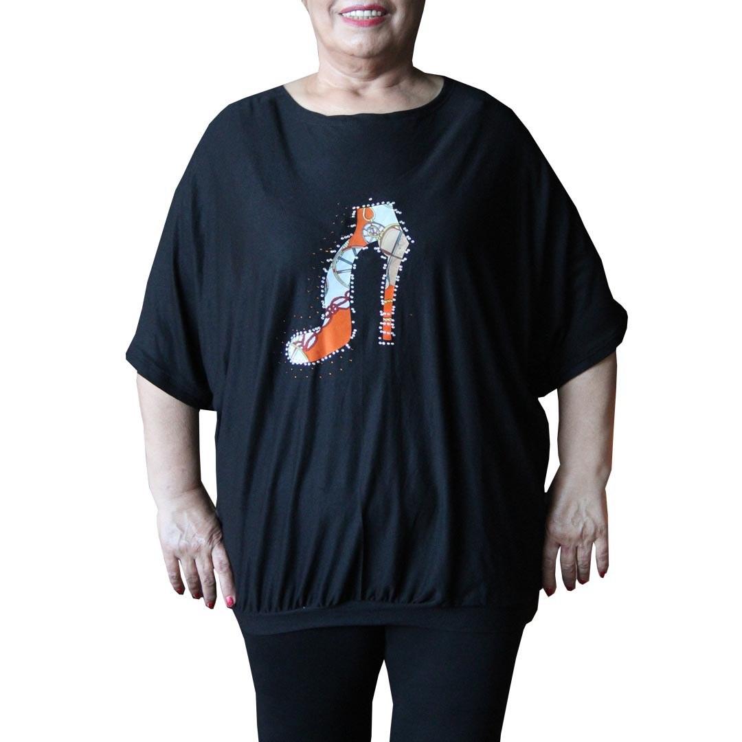 تصویر تیشرت زنانه سایز بزرگ یاشیل کد9685
