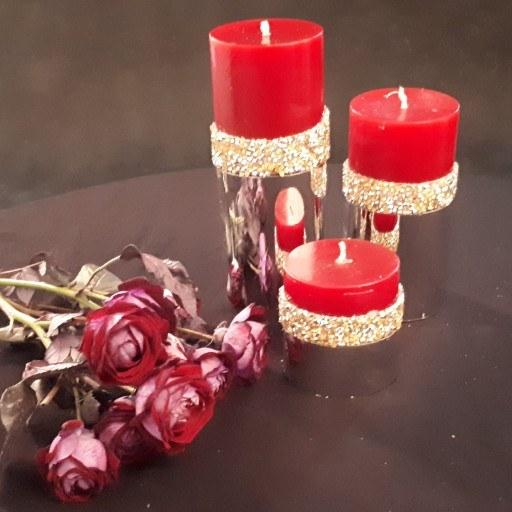 شمع های تزیینی بدون دود و اشک   ست 3 عددی شمع شنی قرمز