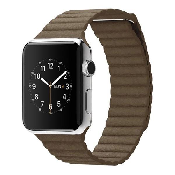 ساعت هوشمند اپل واچ مدل 42mm Steel Case With Light Brown Leather Loop Medium Band