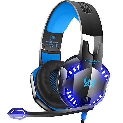 عکس هدفون Stereos Gaming VersionTech G2000 برای Xbox One PC PS4، هدفون Surround Sound Over-Ear با میکروفون لغو میکروفون، چراغهای LED، کنترل صدا برای لپ تاپ، مک، iPad، کامپیوتر، سوئیچ نینتندو، Wii U، -Blue VersionTech G2000 Stereo Gaming Headset for Xbox one PS4 PC, Surround Sound Over-Ear Headphones with Noise Cancelling Mic, LED Lights, Volume Control for Laptop, Mac, iPad, Computer, Nintendo Switch, Wii U, -Blue هدفون-stereos-gaming-versiontech-g2000-برای-xbox-one-pc-ps4-هدفون-surround-sound-over-ear-با-میکروفون-لغو-میکروفون-چراغهای-led-کنترل-صدا-برای-لپ-تاپ-مک-ipad-کامپیوتر-سوییچ-نینتندو-wii-u-blue