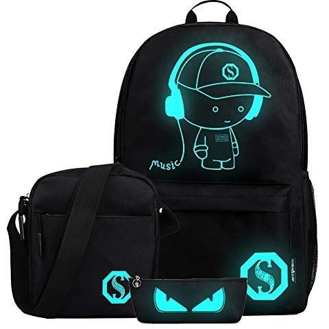 FLYMEI Anime Luminous Backpack for Boys, Girls School Daypack with Shoulder Bag 15.6'' Laptop Bag, Lightweight Travel Bag Set, Cool Cartoon Backpack for Men