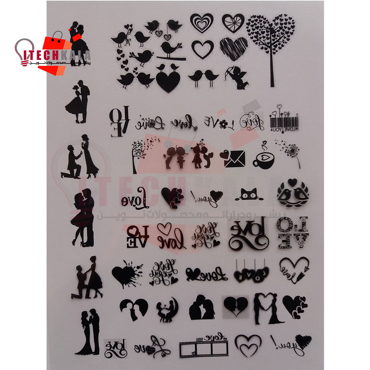 تصویر طلق طرح دار مدل Love (قطعات کوچک)