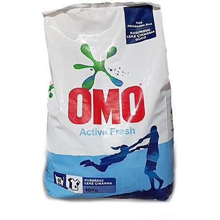 تصویر پودر ماشین لباسشویی مدل Active Fresh امو OMO درجه دو وزن ۱۰ کیلو گرم