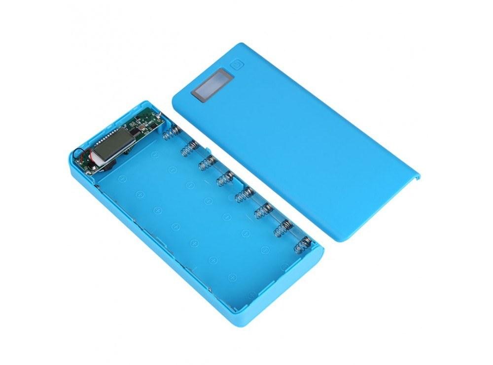 تصویر کیس پاوربانک 30000mAh دو خروجی USB به همراه نمایشگر و برد 8 باتری