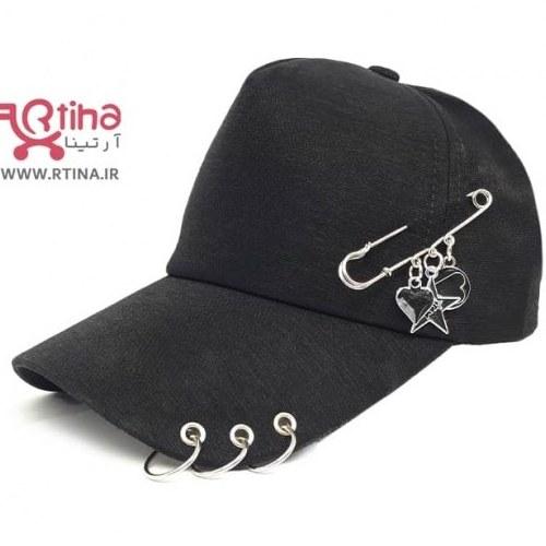 تصویر کلاه اسپرت دخترانه حلقه دار با تزئین سنجاق قفلی