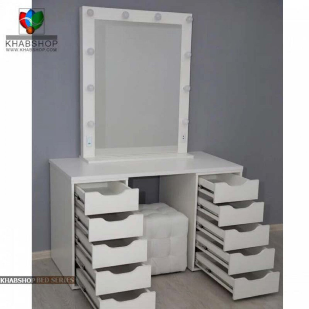 تصویر ست میز آرایش با آینه چراغ دار 9