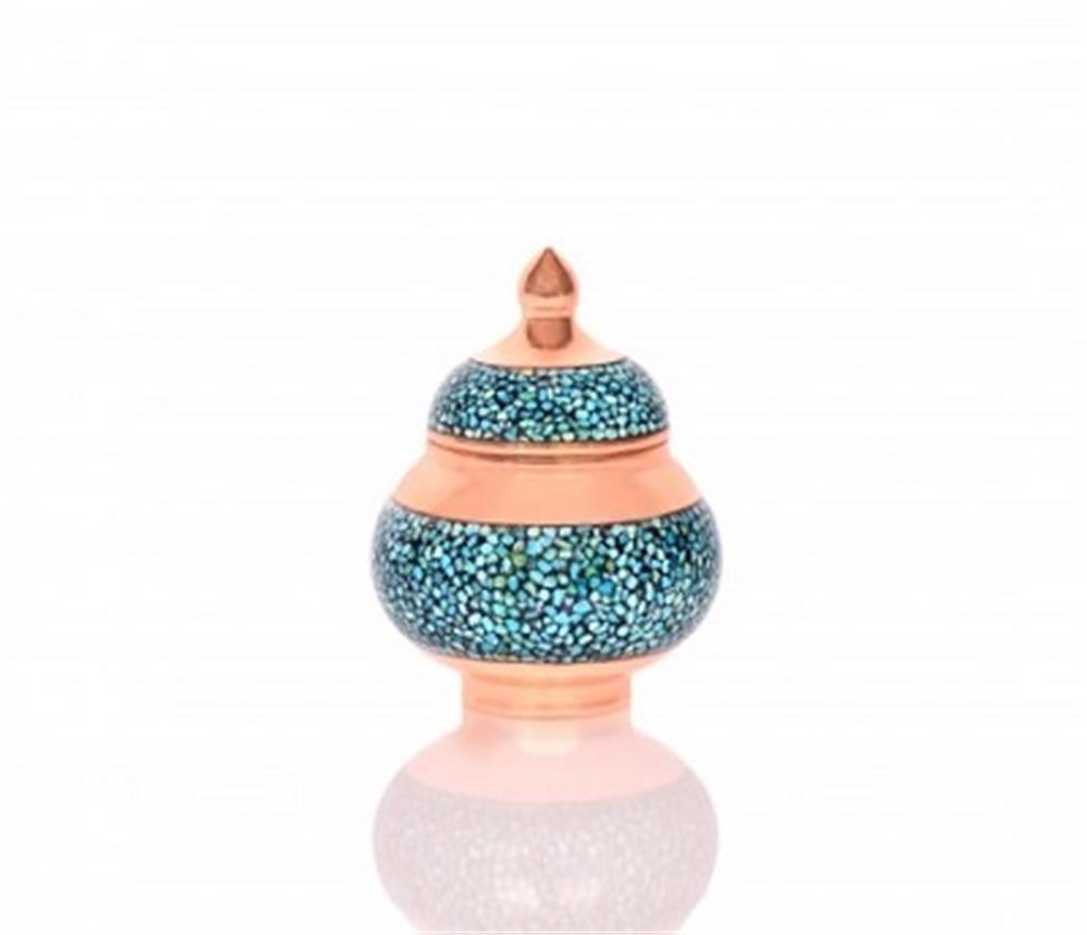 تصویر قندان نقلی فیروزه کوب امضا دار-اثر استاد آقاجانی Sugar Bowl tinny, turquoise
