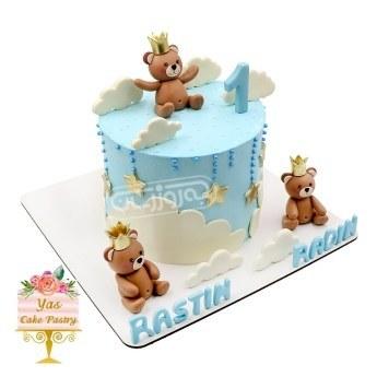 کیک تولد با تزیین عروسک خرسی شیرین کده یاس