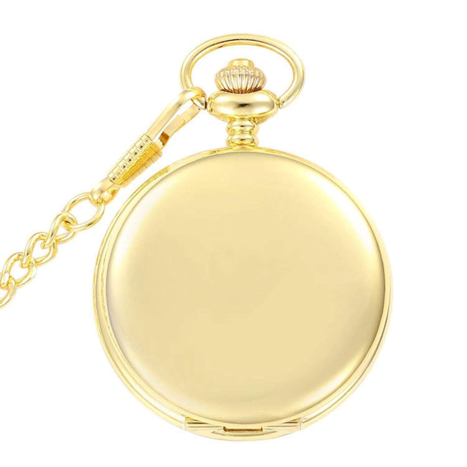 Classic Smooth Vintage Quartz Pocket Watch Gift with Chain + Gift Box