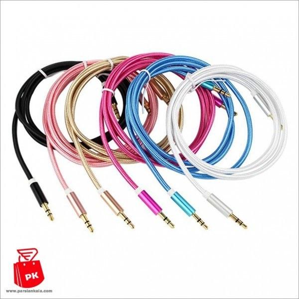کابل AUX کنفی با کانکتور فلزی | aux cable 3.5mm audio line Cotton
