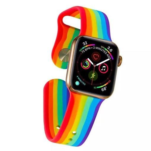 تصویر بند اپل واچ رنگین کمانی