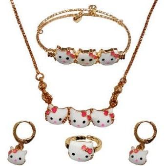 ست دخترانه طرح کیتی شامل گردنبند دستبند گوشواره و انگشتر مدل SKITI  