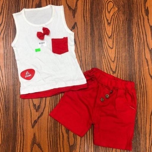 تیشرت شلوارک دخترانه مدل پاپیون قرمزسایز35  