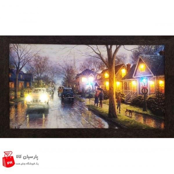 تابلو نقاشی چراغ دار طرح پیادروی بارانی