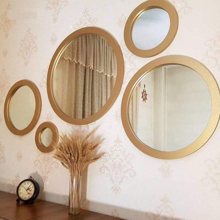 تصویر آینه دکوراتیو گرد ۵ تکه-طلایی رنگ