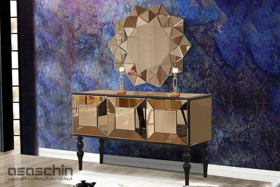 تصویر میز کنسول و آینه ملورین