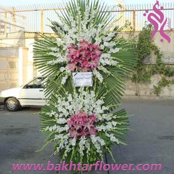 main images پایه گل ترحیم - تاج گل با لیلیوم صورتی و گلایل سفید