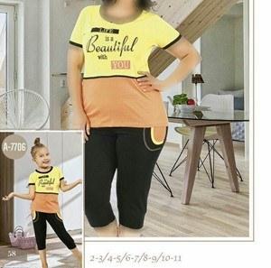 تی شرت شلوارک سایز بزرگ زنانه ترک - 7441 Miss tiko  